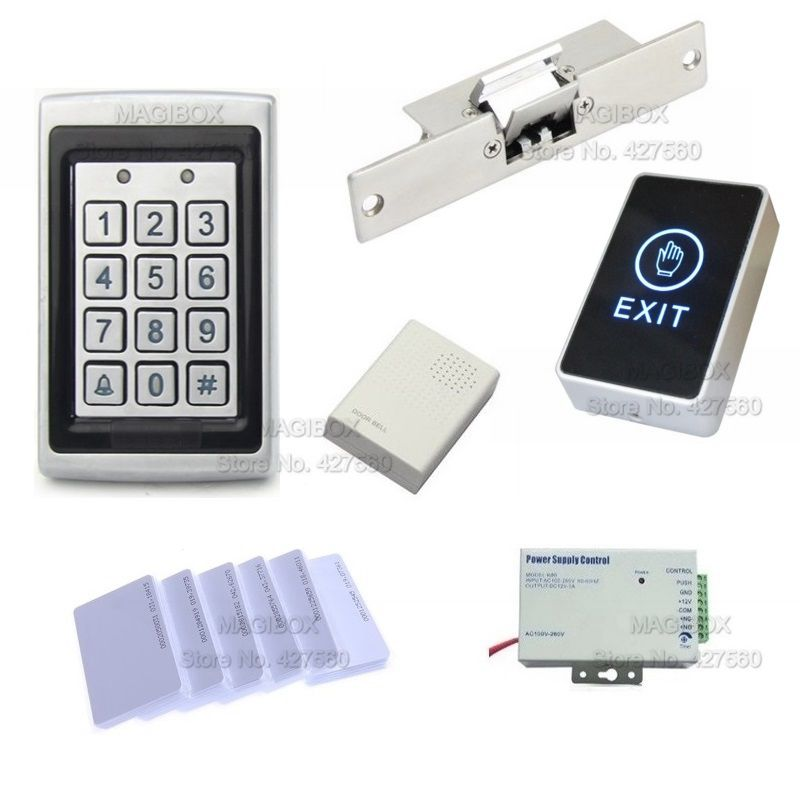ACSS21  Door Access Control System for Frameless Glass Door  ID/EM Card Reader & Keypad Lock+Power Supply+Switch metal rfid em card reader ip68 waterproof metal standalone door lock access control system with keypad 2000 card users capacity