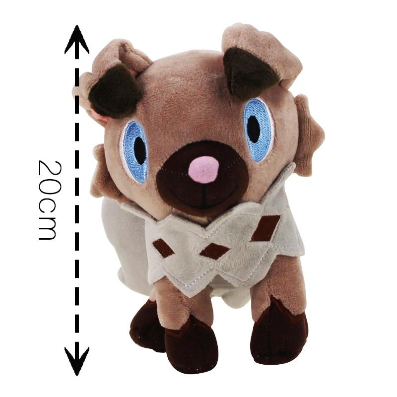 20cm Rockruff plush cartoon doll toy soft stuffed anime dog animal Rockruff plush doll good for kids gift plush big tail animal toy for dog