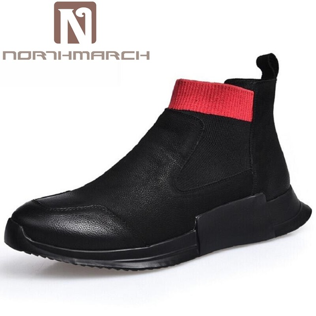NORTHMARCH Brand Italian Mens Ankle Boots Genuine Leather Handmade Black  Business Office Men Shoes Motorcycle Shoes Zapatillas d011d36b2a4a