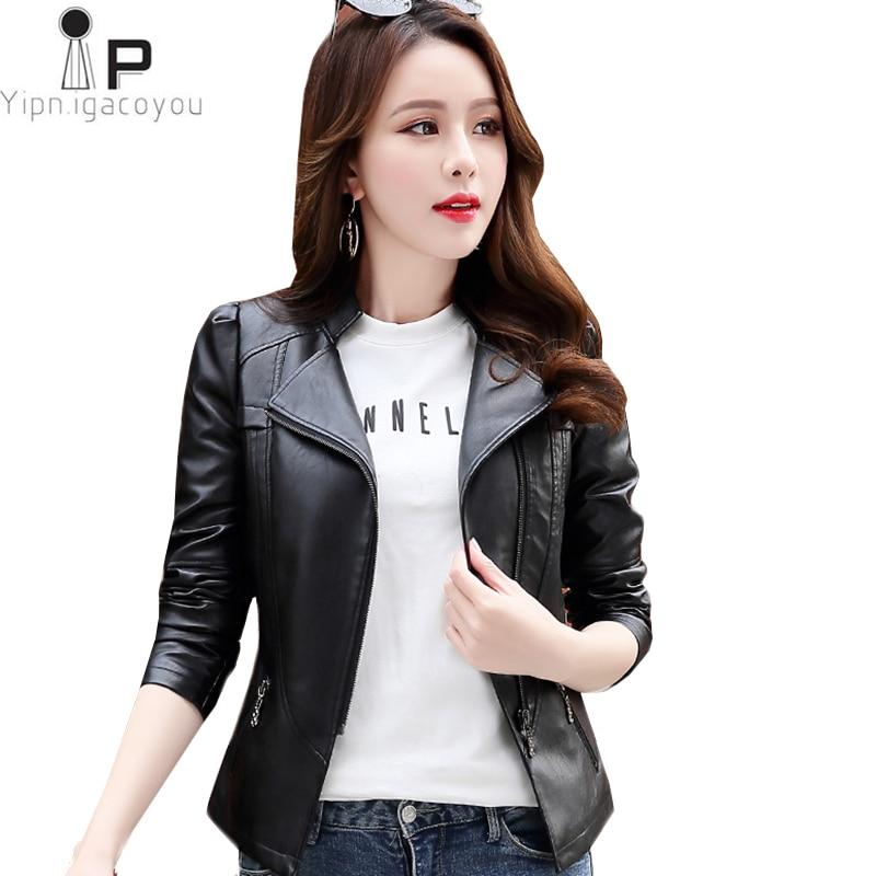 Fashion Short False   Leather   Jacket Women Spring Autumn New Plus size Motorcycle Biker Jackets Slim   Leather   Jacket Ladies PU 6XL
