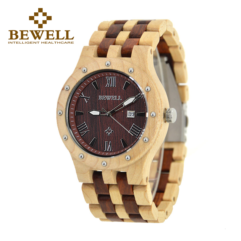 BEWELL Business  Luxury Brand Wooden Watch for Man Round Dial Date Display Wristwatch and Luminous Pointers Wood Watch ZS-109A bewell fashion luxury brand wooden watch for man round dial date display wristwatch and luminous pointers wood watch zs 109a