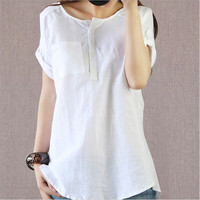 Brand New Women Tops O Neck White Blouse Solid Short Sleeve Women Blouses Fashion Camisa Feminia