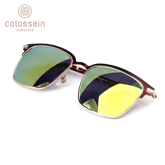 COLOSSEIN Sunglasses Women Polarized Classic Sun Glasses For Men Square Metal Half-Frame Mirror Lens Driving Party style UV400