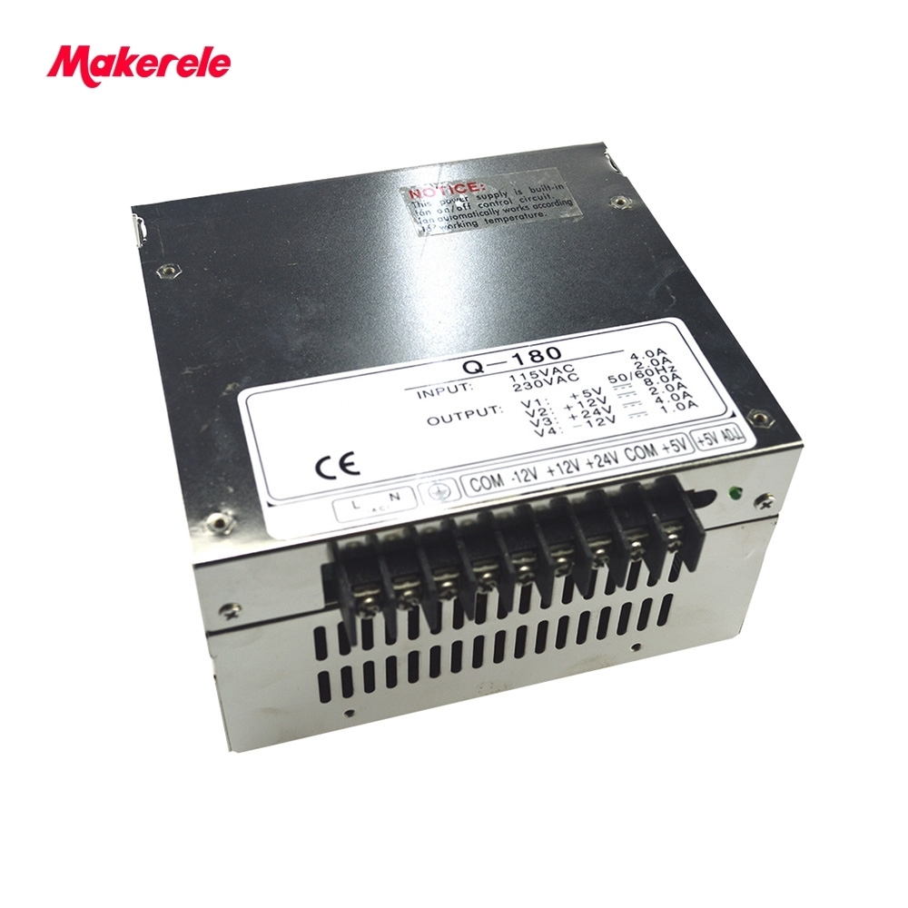 5V 12V 24V -12V quad output 180W switching power supply new model smps (Q-180D) CE approved power supply ce approved 100%guarantee 5v 12v 24v 500w high voltage switching power supply