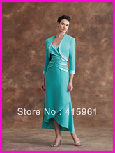 Popular Custom Made Mother of the Bride Dresses With Three Quater Sleeves Jacket M560