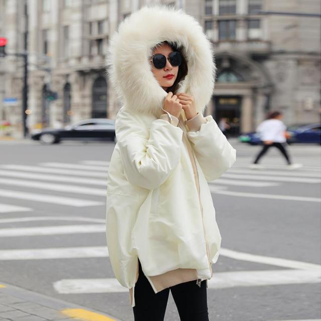Winter new fashion brand with big fur collar hooded warm down jacket female natural fur coat thick warm parkers coat wq572