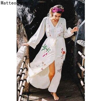 2ddff4188a908db Хлопковая вышитая туника Летнее Пляжное Платье длинное женское купальное  Бикини cover up Saida de платье praiya de Plage кафтан Парео Пляжная одежда