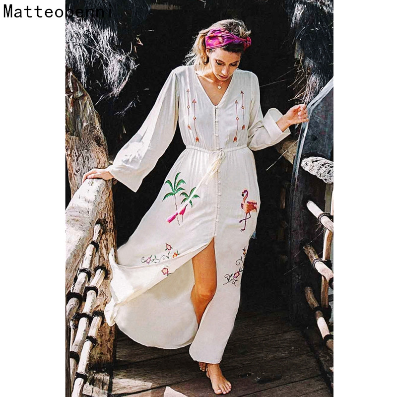 cotton embroidered Tunic summer beach dress Long Women Swim bikini cover up Saida de Praia Robe de Plage Kaftan pareo beach wear