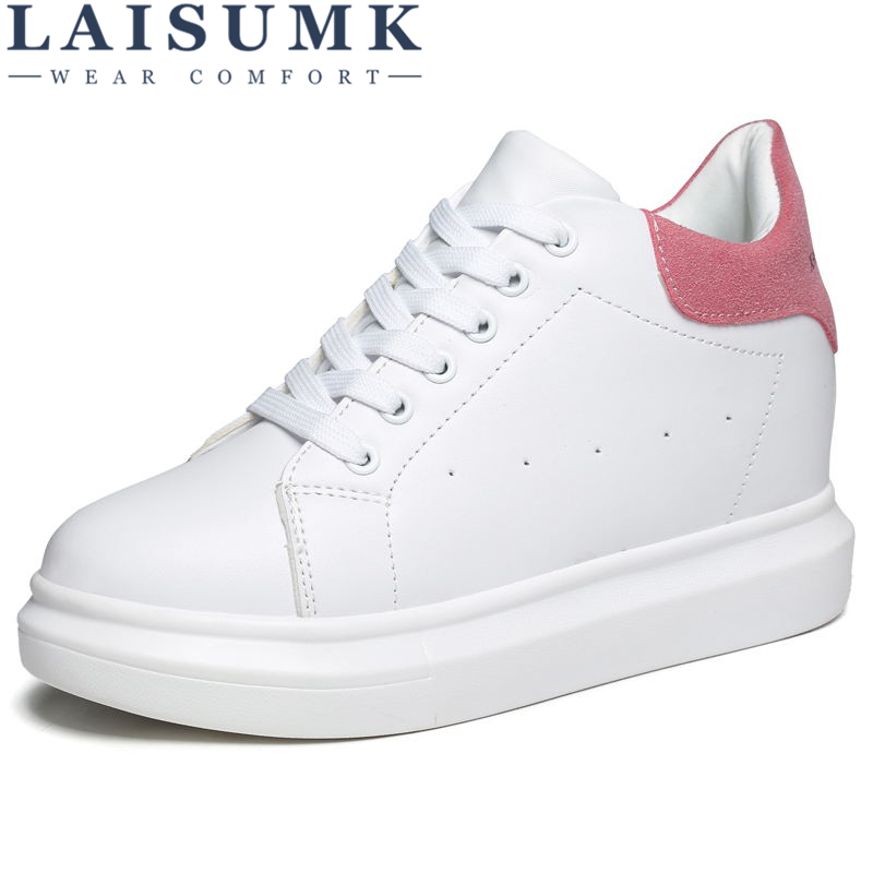 LAISUMK Women'S Vulcanize Wedge Sneaker Platform Women Casual Shoes Woman Sneakers Platform High Top Female High Heel 8.5 cm de la chance women vulcanize shoes platform breathable canvas shoes woman wedge sneakers casual fashion candy color students