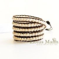 Lotusmann new latest mother of pearl 5 wrap bracelet on nature leather wrap Wrap Bracelet on Leather