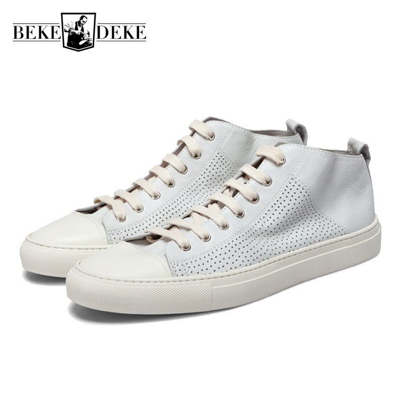 New Arrival Vintage Mens Genuine Leather Flat Shoes Casual Summer Washed Breathable Trainers Men Street Lace Up White Sneakers стоимость
