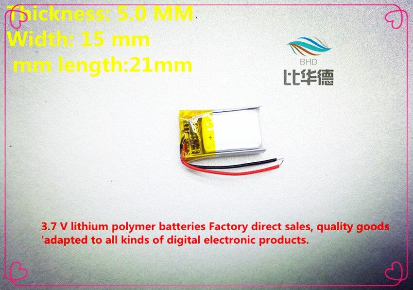 54a7cc23a (Frete grátis) (2 peças/lote) 501521 3.7 V 110 mah bateria de  lítio-polímero qualidade dos bens da qualidade de autoridade de  certificação ROHS