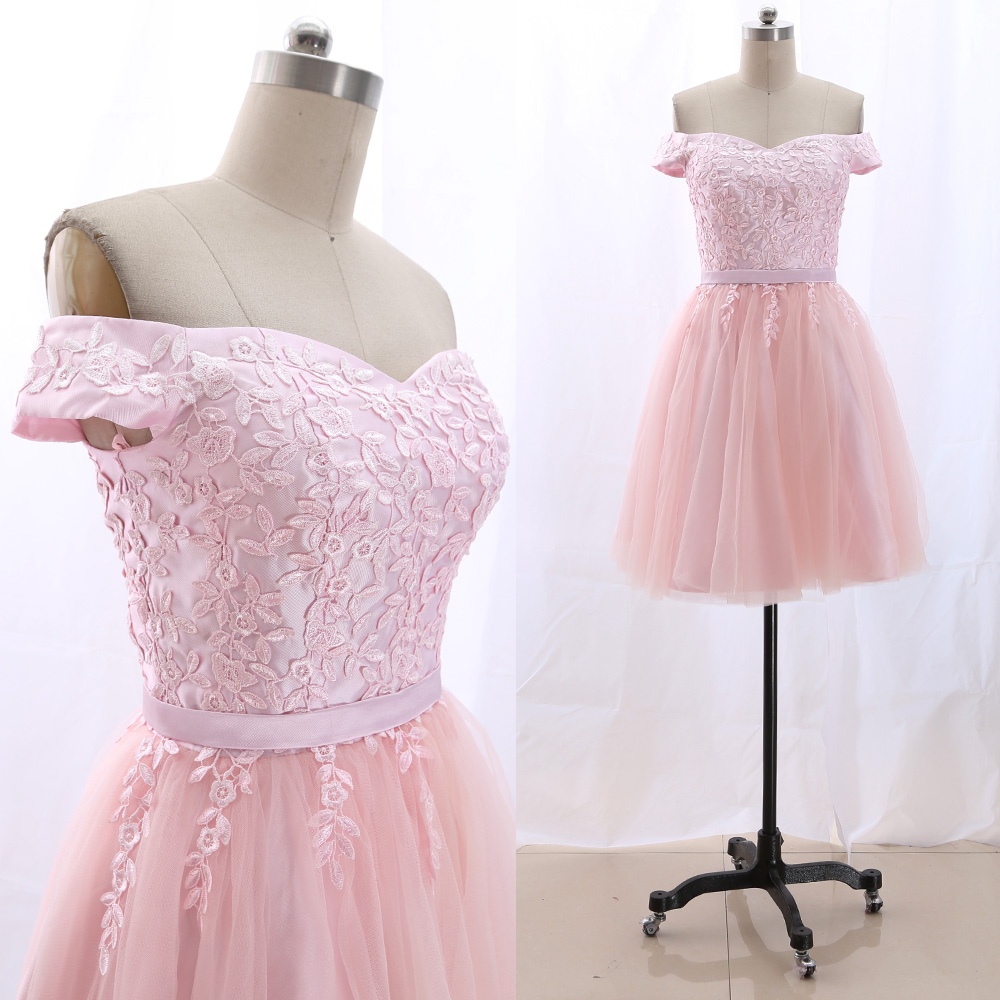 MACloth Pink Short Off the shoulder Knee-Length Short Embroidery Tulle   Prom     Dresses     Dress   M 265888 Clearance