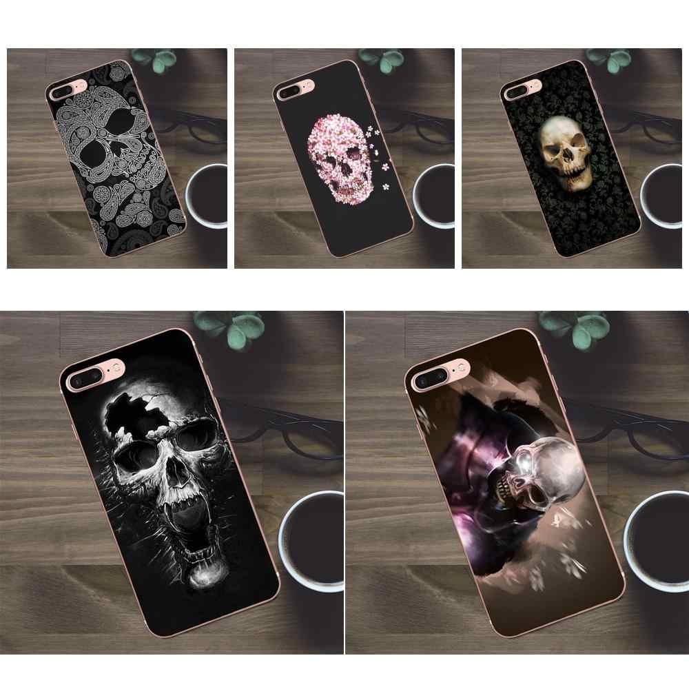 For Huawei G8 Honor 5C 5X 6 6X 7 8 9 Y5II Mate 9 P7 P8 P9 P10 P20 Lite Plus 2017 Back Phone Case Shiny Crystal Skull Handmade