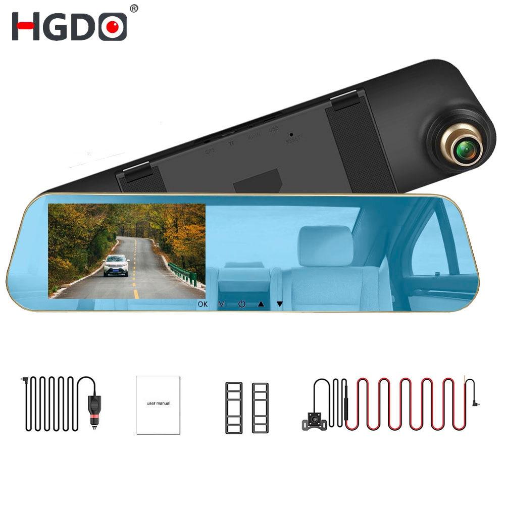 HGDO 4.3 pouce Rétroviseur Caméra Double Lentille Voiture DVR Dash Cam Auto Enregistreur Vidéo Caméscope Dashcam Nuit Vision retour caméra