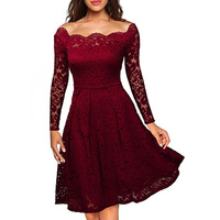 Robe Femme Sexy Vintage Floral Lace Dress Women Elegant Long Sleeve 50s 60s Retro Style Rockabilly