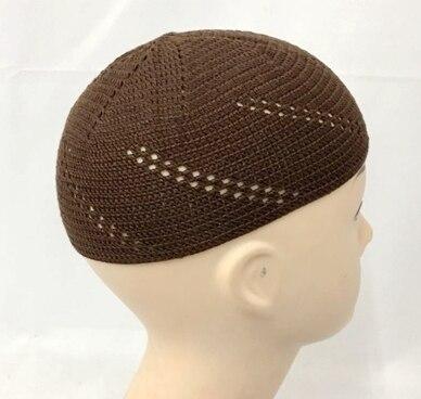 4 pièces/lot au détail taille libre tricoté hommes casquette enveloppement tissage musulman hommes chapeau périmètre 44cm