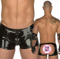 Latex Boxer Men Sexy Rubber Underwear Open Hips Crotch Zip Two Way Zip Plus Size