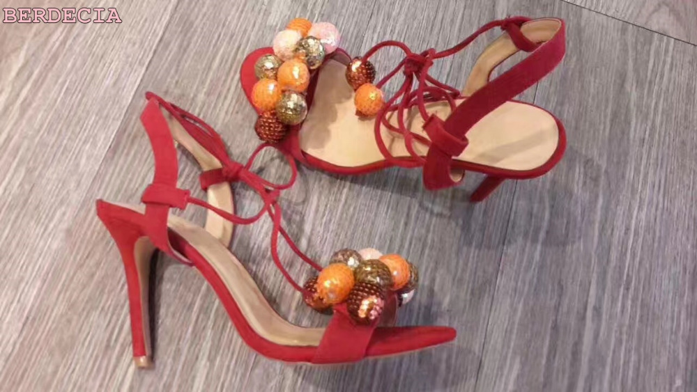 young girls favorate String Bead sandals open toe lace up fit shoes jewely decoration red suede high heel pumps sandals