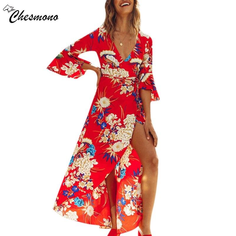 Women Chiffon Floral Print Boho Dress Sexy Deep V Neck Travel Beach Long Flare Sleeve tie belt irregular 2018 Summer Dresses