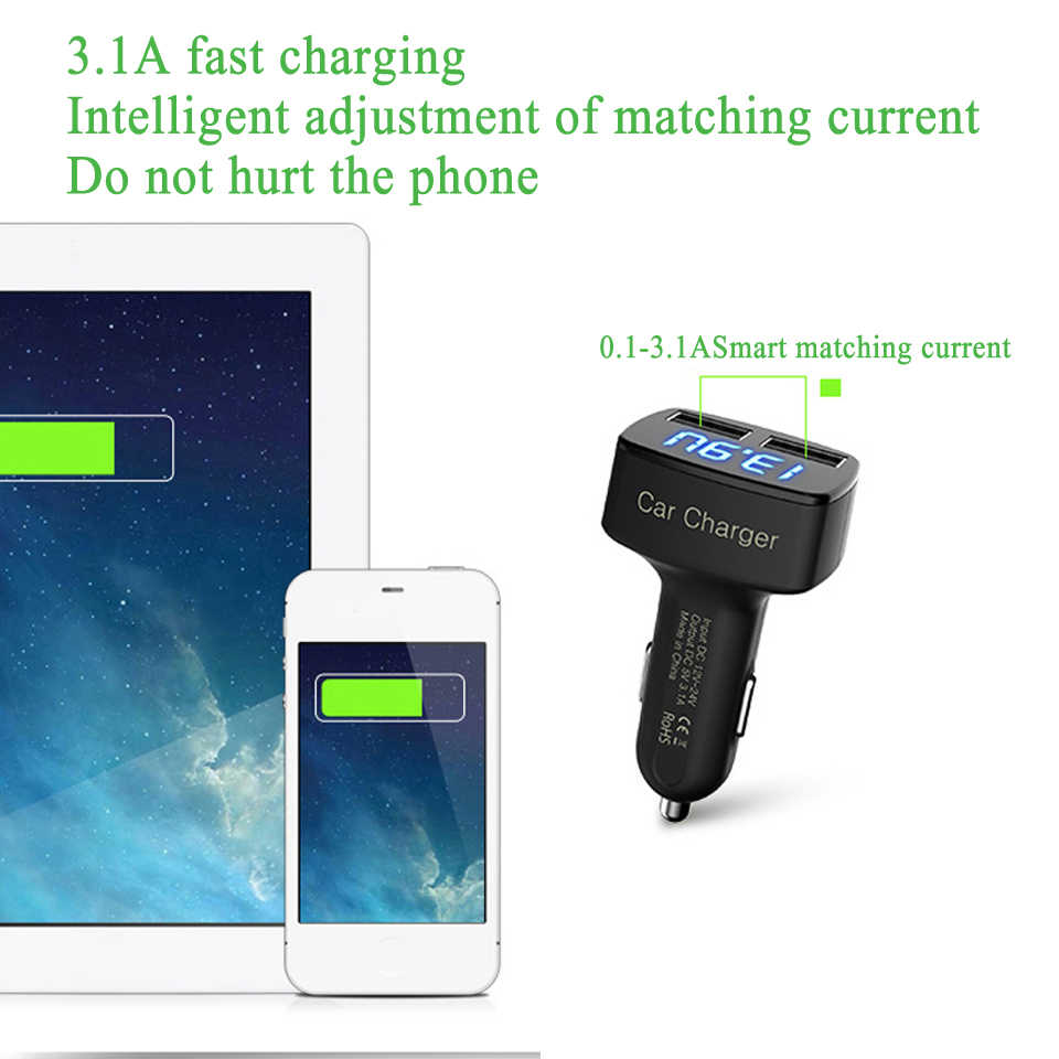 Universal 4 In 1 5V 3.1A Car Charger Dual USB Ports Adapter Socket for Mobile Phone Tablet PC Digital LED Display for iPhone