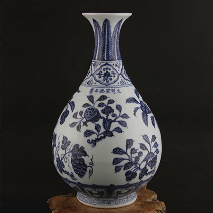 6 Antique MingDynasty porcelain vase,Blue & white fruit bottle,Hand-painted crafts,Decoration,Collection&Adornment vase