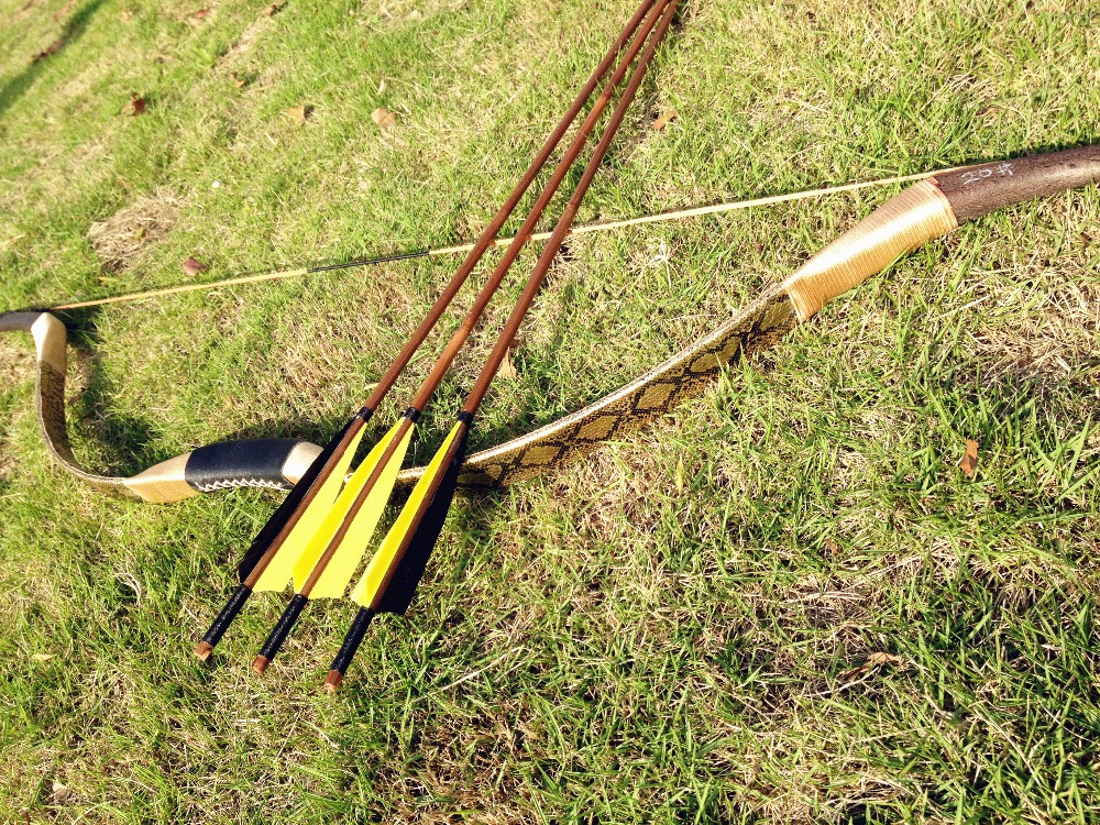 US $76 13 19% OFF Nice Golden Hunting Longbow Archery Recurve Bow 20 60lb  with 3 bamboo arrows sport goods-in Bow & Arrow from Sports & Entertainment
