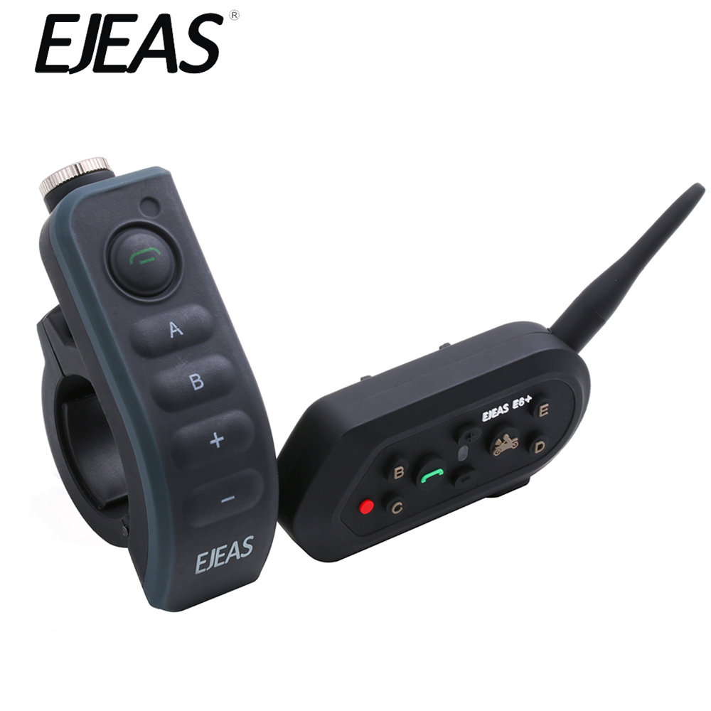 EJEAS E6 Plus 1200M Motorcycle Bluetooth Intercom Communicator Helmet Interphone Headsets VOX With Remote Control For 6 Riders