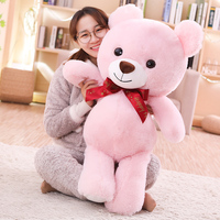 100cm Pink/Brown New Style Fashion Stuffed Plush Happy Bear With Bowknot For Birthday/Girlfriend Gifts