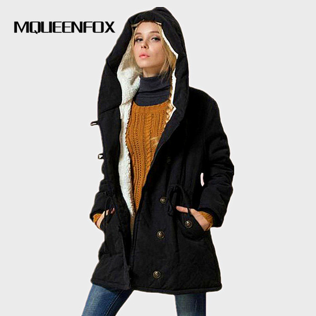 MQUEENFOX 2018 New Plus Size Winer COat Women Winter Jacket Cotton Padded Female Long Section Cashmere Coat Winter Jackets 4XL