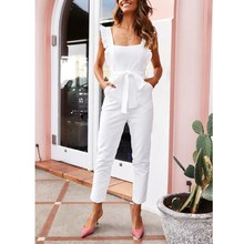Elegant Off Shoulder Jumpsuit Women Sexy Backless Casual Overalls Ruffles Lace Up Solid Summer