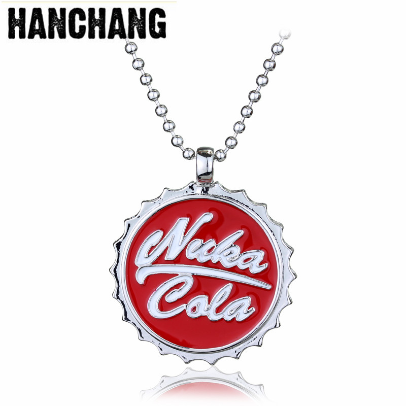 Fashion Beer Cap Necklaces Online Game Fallout 3 Jewelry Ornaments Nuka Cola Drinks Pendant Necklaces Unisex Bead Chain Colar
