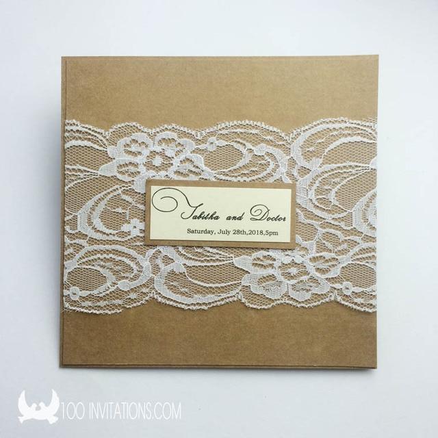 Kraft Paper And Lace Wedding Invitations Uk New