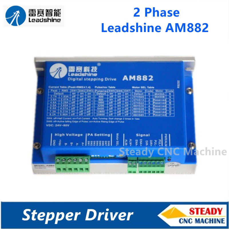 Leadshine 2 phase High precision stepper driver AM882 driver work 36-80VDC out 1.0A-8.2A 2pcs lot leadshine 2 phase high precision stepper drive am882