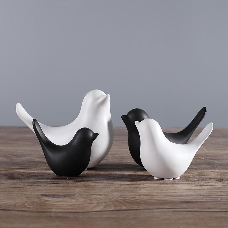 4pcs Black And White Ceramic Bird Figurines Animal Statues