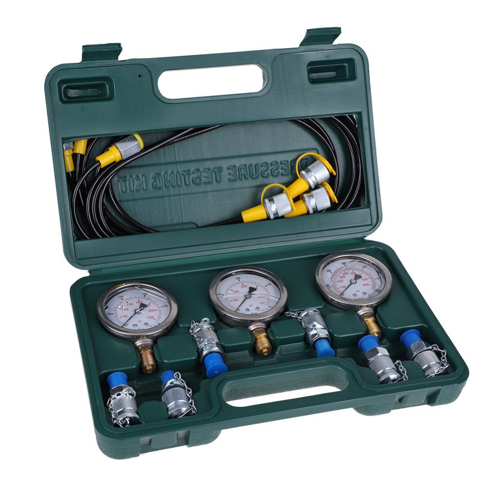 Excavator Hydraulic Pressure Test Kit with Testing Hose Coupling Pressure Gauge Testing Hydraulic Tools