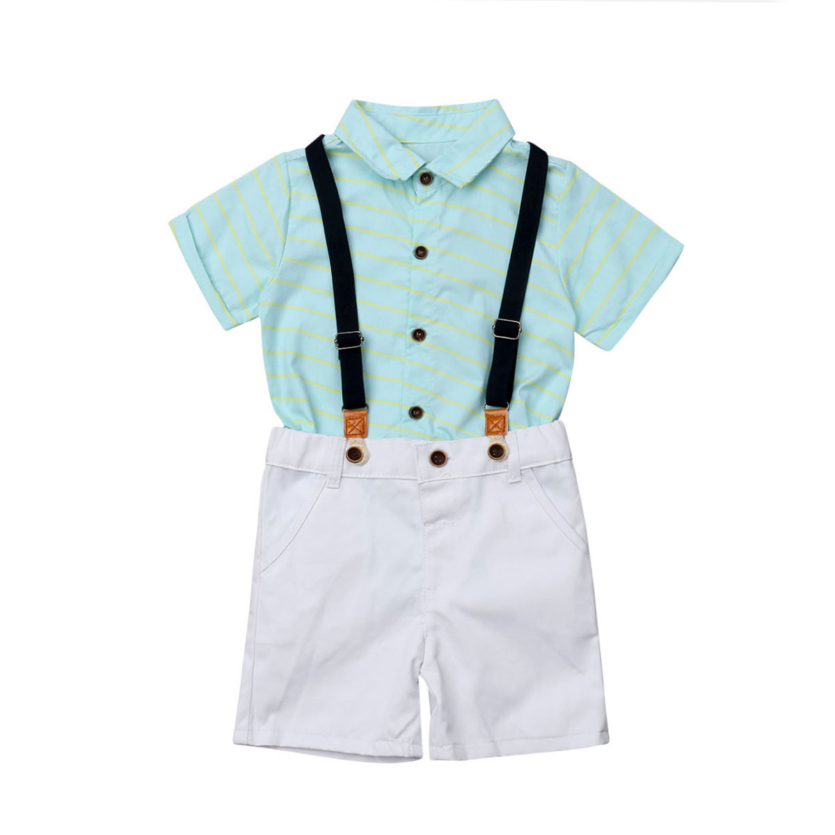 2pcs Toddler Kids Baby Boys Clothes Sets Gentleman Shirt Short Sleeve Overalls Shorts Cotton Outfits Set Boy 3-8T cute toddler kid baby boys clothes sets t shirt top short sleeve cotton pants outfits clothing set boy