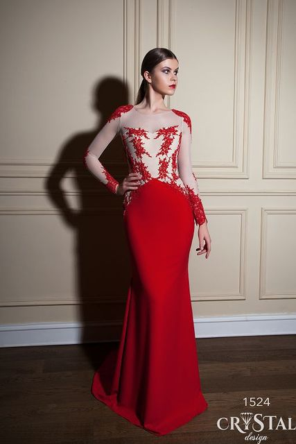 Taline Red Long Sleeve Sheer Illusion Neckline Mother Of The Bride Dresses Sweetheart Bodice Mermaid