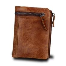 купить 100% Genuine Leather Men Wallet Zipper Pocket Bifold Men Wallets Short Coin Purse Retro Brand Luxury Wallet Rfid Cartera Hombre дешево