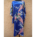 Hottest Blue Female Polyester Robe Down Charming Nightdress Lounge Home Wear Printed Novelty Yukata Gown One Size  NS0054