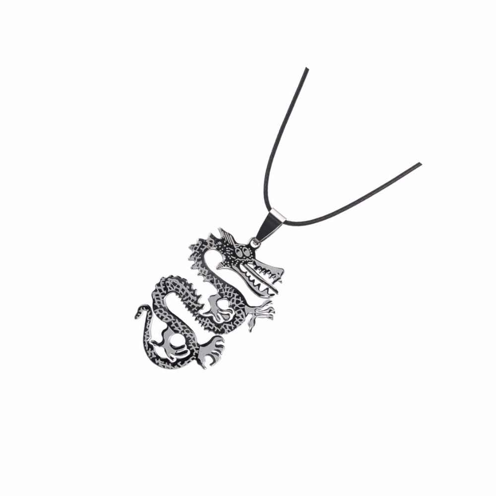 Charm Men Stainless Steel Flame Necklace Pendant Leather Chain Fashion Jewelry