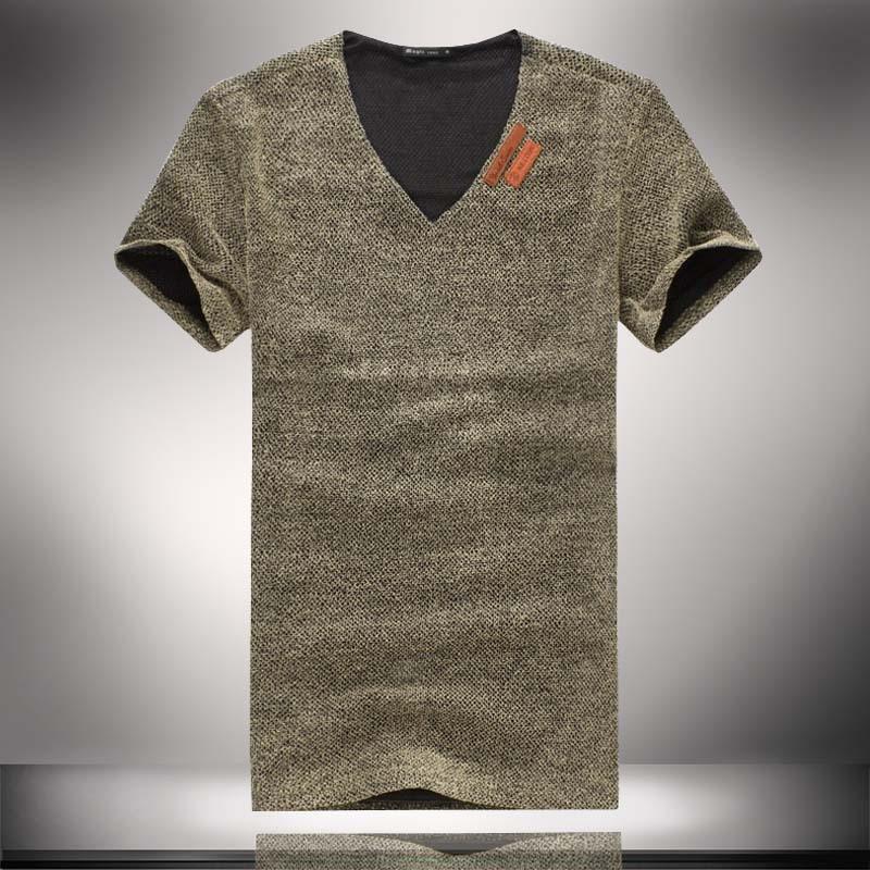 2016 Summer V Neck Short Sleeve T Shirts Homme Men Fashion