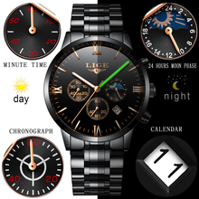 Luxury latest lige water resistant men full chronometer anti-scratch glass watch