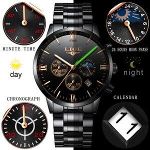 Image 4 - Lige relógio famoso moda masculina relógio de quartzo dos homens relógios de luxo marca superior negócios aço completo à prova dwaterproof água relógio relogio masculino