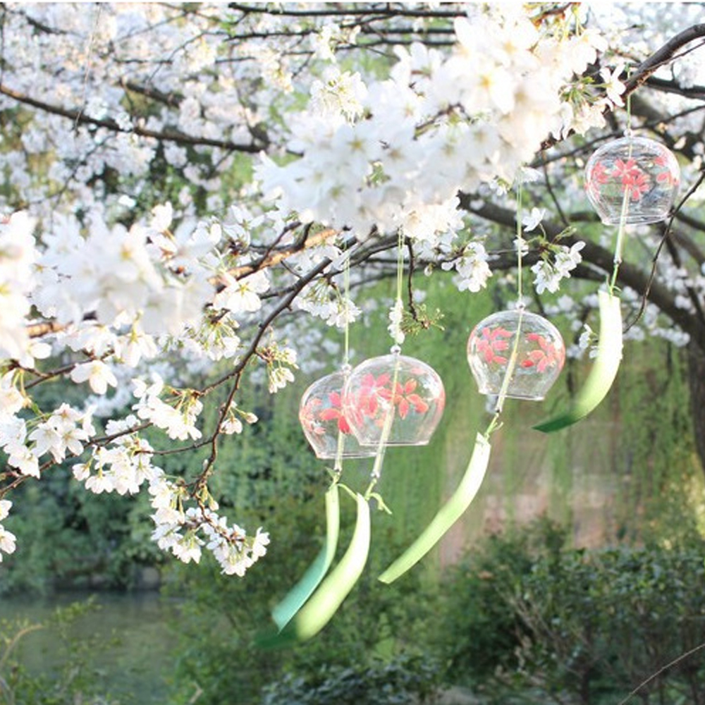10pcs handmade painting japanese wind chimes furin for festival outdoor hanging decorations home garden hanging decor diy gift in party diy decorations