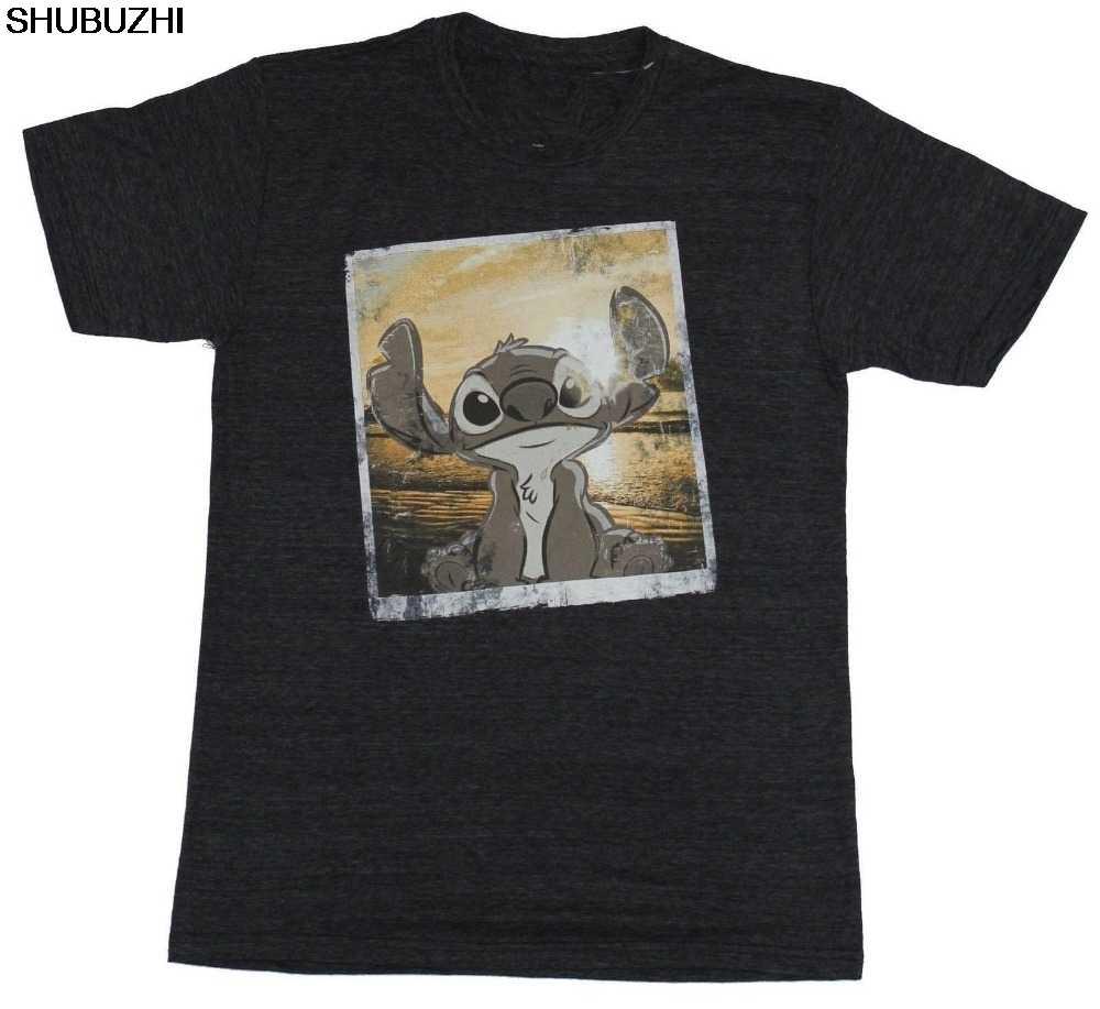 T-Shirt Dos Homens-Stich Lilo e Stitch Sorrindo Angustiado Foto Do Por Do Sol Imagem sbz115