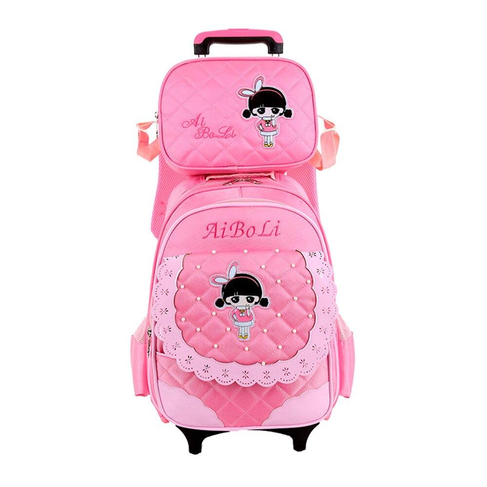 2PCS Children School Bags Wheeled Trolley Backpack Oxford Student Girls Kids Primary School Bags Detachable Backpack kalidi 2pcs set backpack