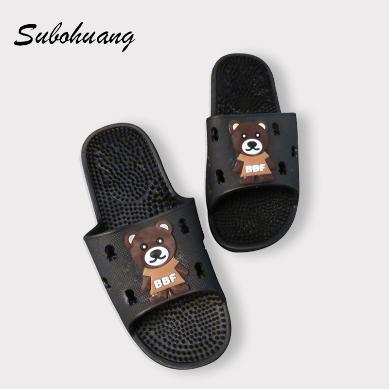 2017 NEW Summer Beach Men Slippers Bear Indoor Breathable Bathroom Non-slip Flat Shoes Soft Comfortable Foot Massage Slippers 50%off men shoes summer eva massage foam beach flat sandals non slip bathroom household room indoor home house shoes