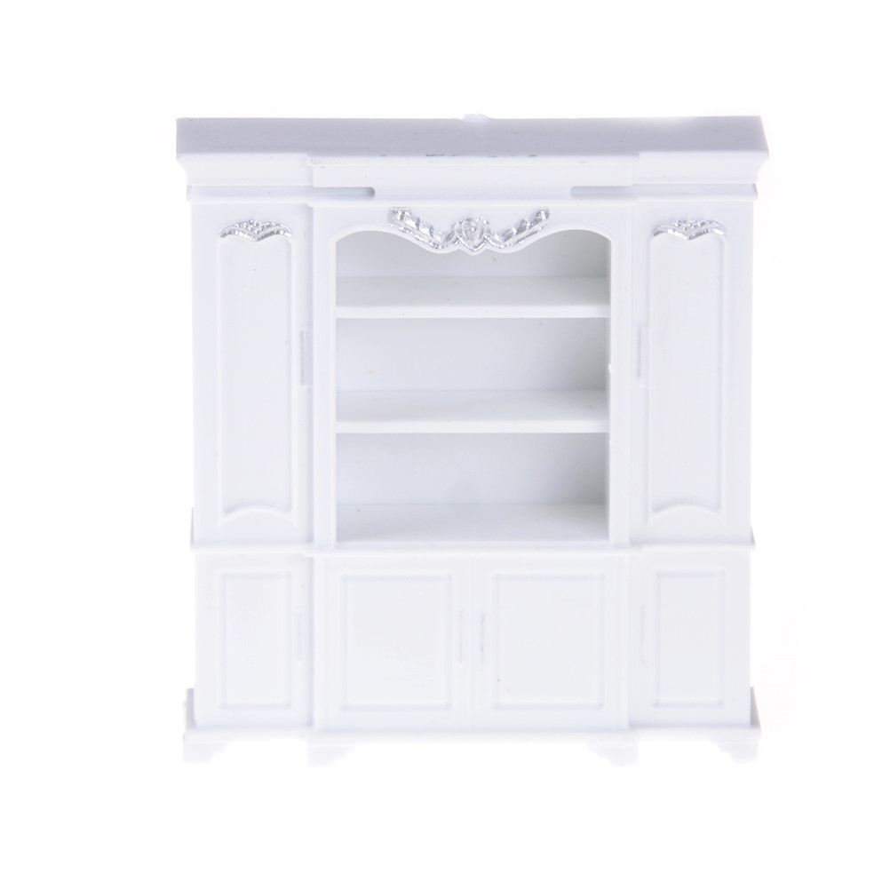 Newest Mini Miniature Plastic Multifunction White 60*20*67mm Dollhouse Cabinet Bookcase Furniture