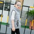 Модная детская одежда тряпки ребенка жилет зимнее пальто девочек хлопка-ватник размер от 6 до 15 лет